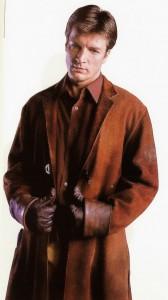 "Nathan Fillion as ""Malcom Reynolds"" on Firefly."