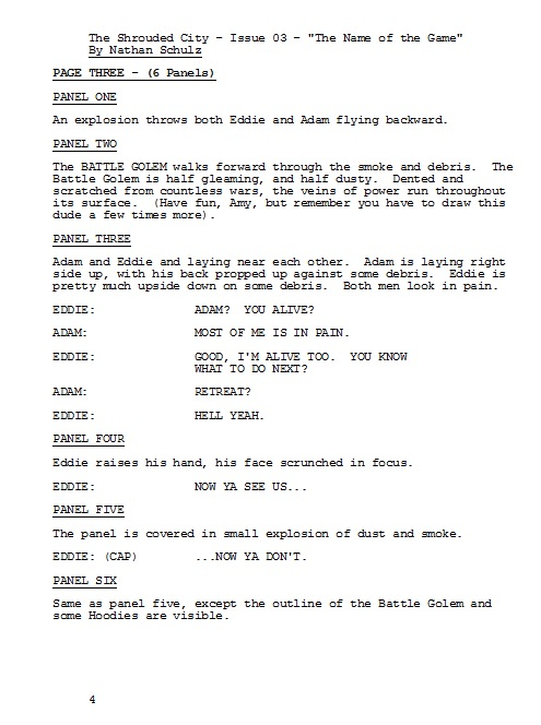 So For Example Heres How A Page Of The Script I Wrote Turned Into From Comic Book Courtesy Amy Watsons Awesome Art