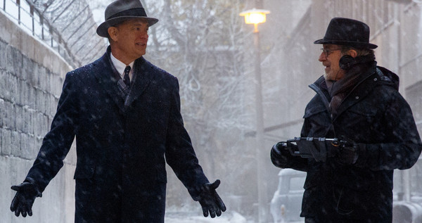 Here's is Steven Spielberg with Tom Hanks on the set of Bridge of Spies.
