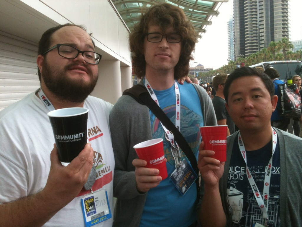 Agent Nate, Agent Patrick and Agent Justin raises a glass for freedom of Hall H.