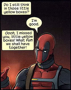 Deadpool yellow boxes