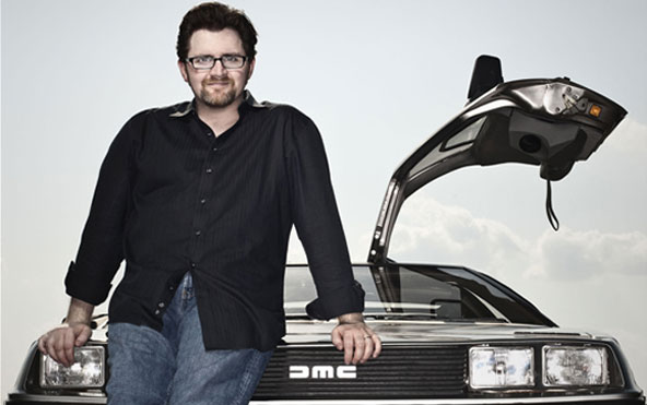 The author, Ernest Cline, and HOLY CRAP IS THAT A DeLOREAN??