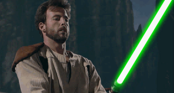 They say that behind Kyle Katarn's beard, there's only another blaster pistol