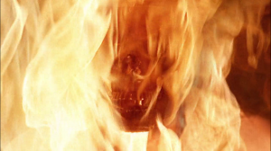 This is the Smoking Man as a skull after all the flesh was burned off of his face, on screen, while we all watched.