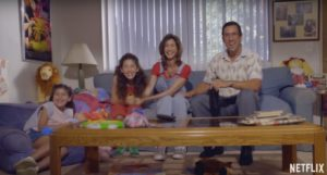 Sandy Wexler (Adam Sandler) and his client Amy Baskin (Jackie Sandler) with her two kids (Sadie and Sunny Sandler).